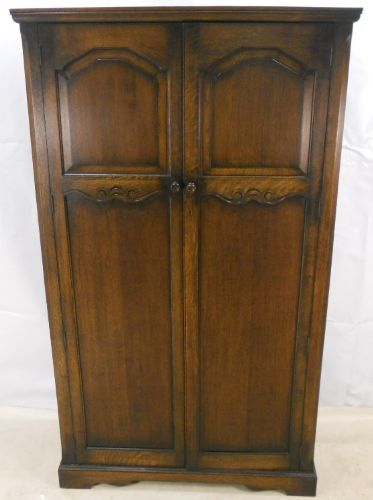Antique Oak Jacobean Style Two Door Hanging Wardrobe - SOLD